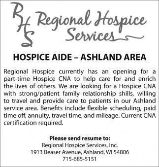 Hospice Aide - Ashland Area, Regional Hospice Services