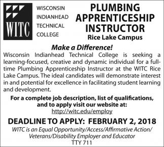 Plumbing Apprenticeship Instructor
