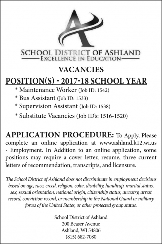 Vacancies, School District Of Ashland, Ashland, WI