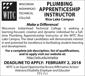 Plumbing Apprenticeship Instructor