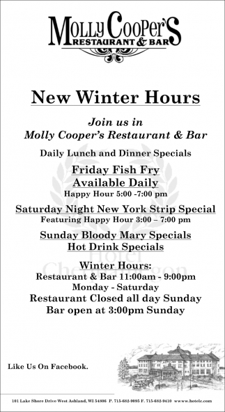 New Winter Hours Molly Cooper S Restaurant Bar