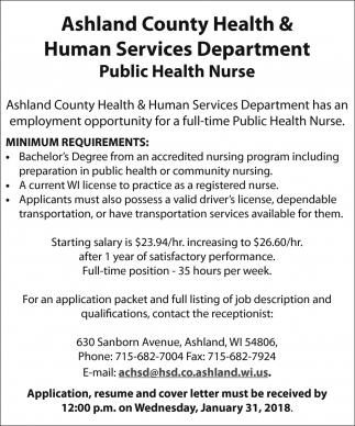 Public Health Nurse, Ashland County Health & Human Services ...