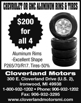 CHEVROLET OR GMC ALUMINUM RIMS AND TIRES