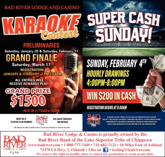 Karaoke Contest / Super Cash Sunday!