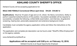 And Female Correctional Officer Ashland County SheriffS Office