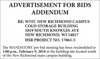Advertisement for bids addendum