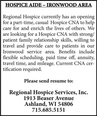 HOSPICE AIDE - IRONWOOD AREA