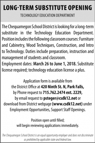 Long Term Substitute Opening, Chequamegon School District, Park ...
