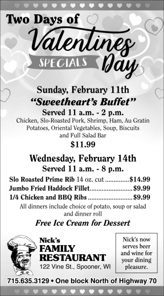 Valentines Day Specials Nick S Family Restaurant Spooner Wi