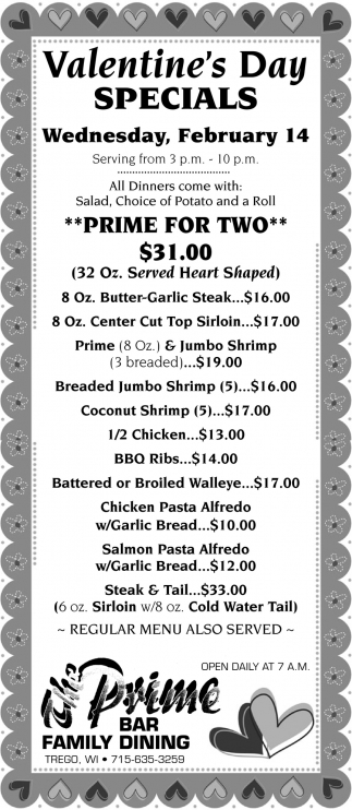 Valentine S Day Specials The Prime Bar Family Dining Trego Wi