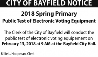 2018 Spring Primary Public Test of Electronic Voting Equipment