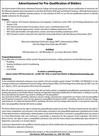 Advertisement for Pre-Qualification of Bidders