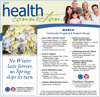March Community Programs & Support Groups