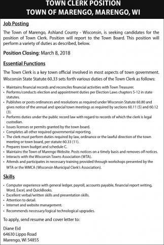 Town Clerk Position