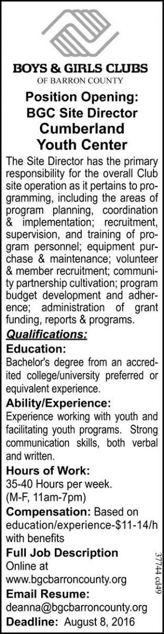 POSITION OPENING