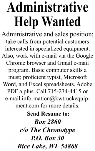 Administrative Help Wanted
