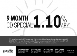 9 Month CD Special 1.10% apy*