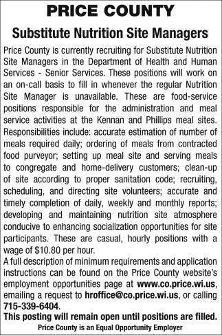 Substitute Nutrition Site Managers