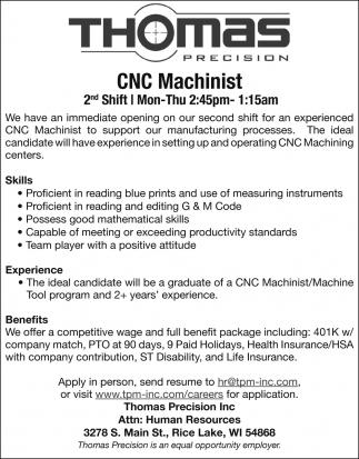 CNC Machinist, Thomas Precision, INC, Rice Lake, WI