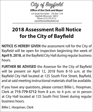 2018 Assessment Roll Notice for the City of Bayfield