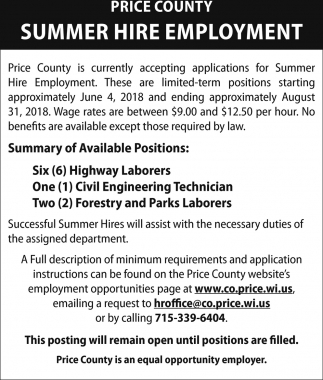Summer Hire Employment