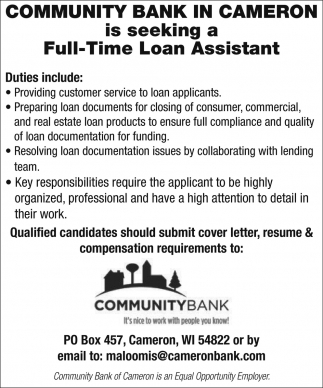 Loan Assistant, Community Bank   Cameron, Cameron, WI
