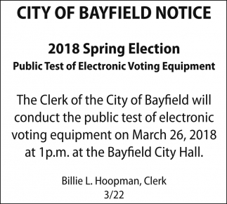 2018 Spring Election Public Test of Electronic Voting Equipment