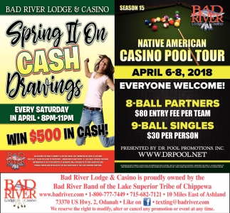 Spring II On Cash Drawings / Native American Casino Pool Tour