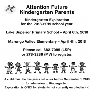 Kindergarten Exploration for the 2018-2019 school year