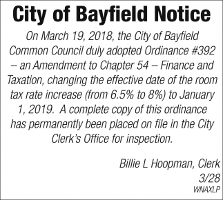 City of Bayfield Notice