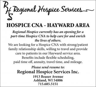 Hospice CNA, Regional Hospice Services, Spooner, WI