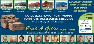 Large selection of northwoods furniture, accessories & bedding