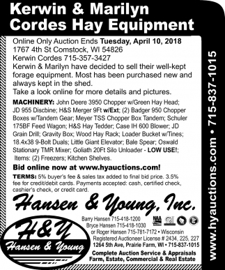 Kerwin & Marilyn Cordes Hay Equipment