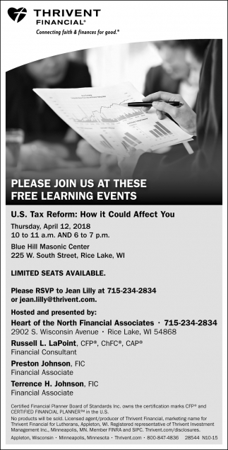 Free Learning Events Thrivent Financial Rice Lake