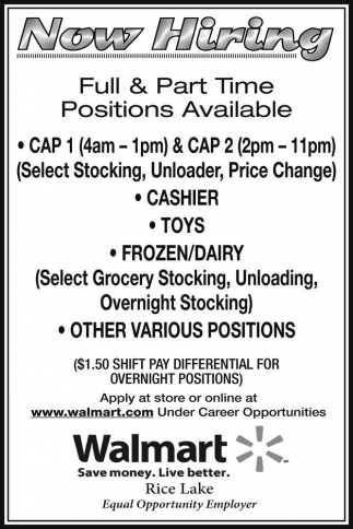 walmart rice lake jobs ads from spooner advocate - Stocking Jobs At Walmart