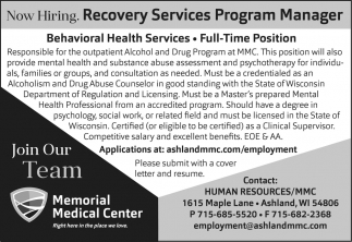 Recovery Services Program Manager