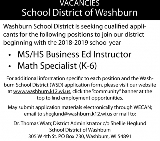 MS/HS Business Ed Instructor, Math Specialist