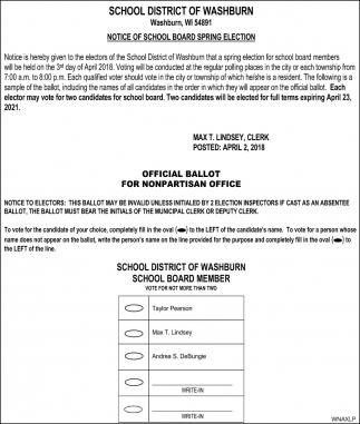 Notice of school board spring election
