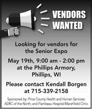 Vendors Wanter for The Senior Expo