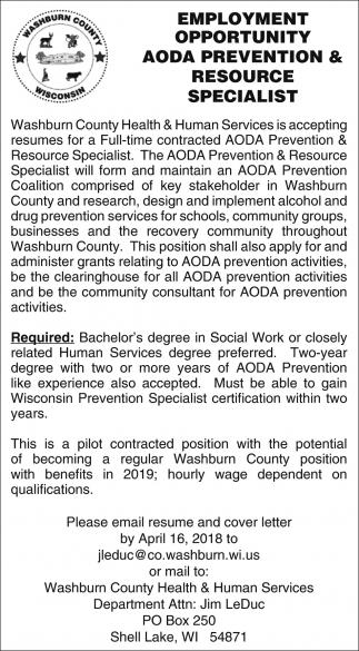 AODA Prevention & Resource Specialist