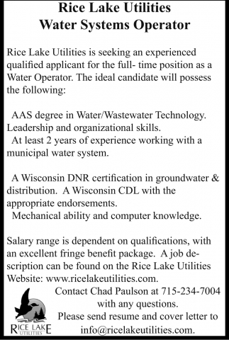 Water Systems Operator Rice Lake Utilities Rice Lake Wi