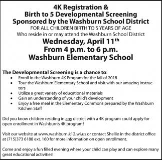 4k Registration & Birth to 5 Developmental Screening