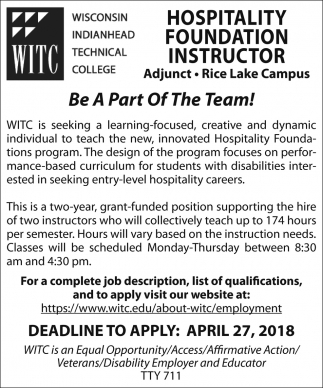 Hospitality Foundation Instructor