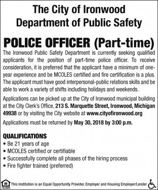 Police Officer City Of Ironwood Ironwood Mi