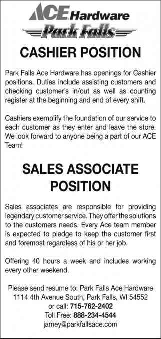 Cashier - Sales Associate, Ace Hardware Park Falls, Park Falls, WI