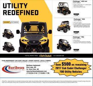 Save $500 on remaining 2017 Cub Cadet Challenger 700 Utility Vehicles