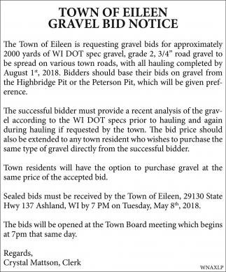 Gravel Bid Notice, Town Of Eileen, Ashland, WI