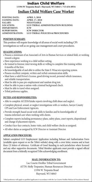 Indian Child Welfare Case Worker
