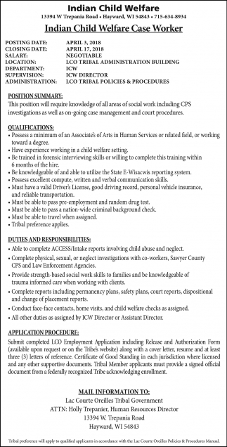 Indian Child Welfare Case Worker, Lac Courte Oreilles Tribal