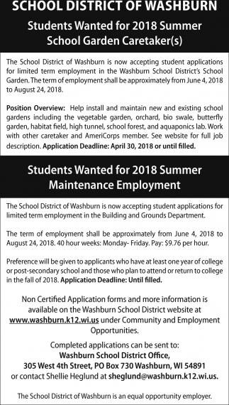 Summer School Garden Caretakers / Summer Maintenance Employment